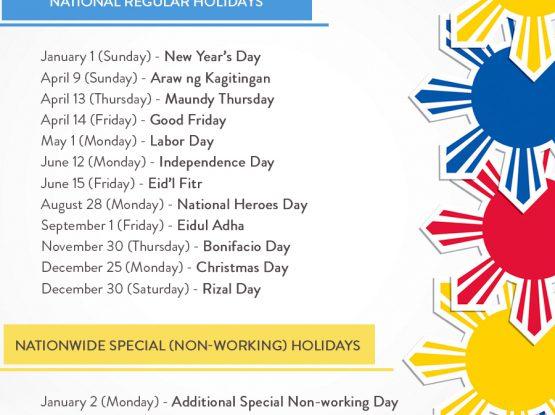 2017 PH Holidays - updated