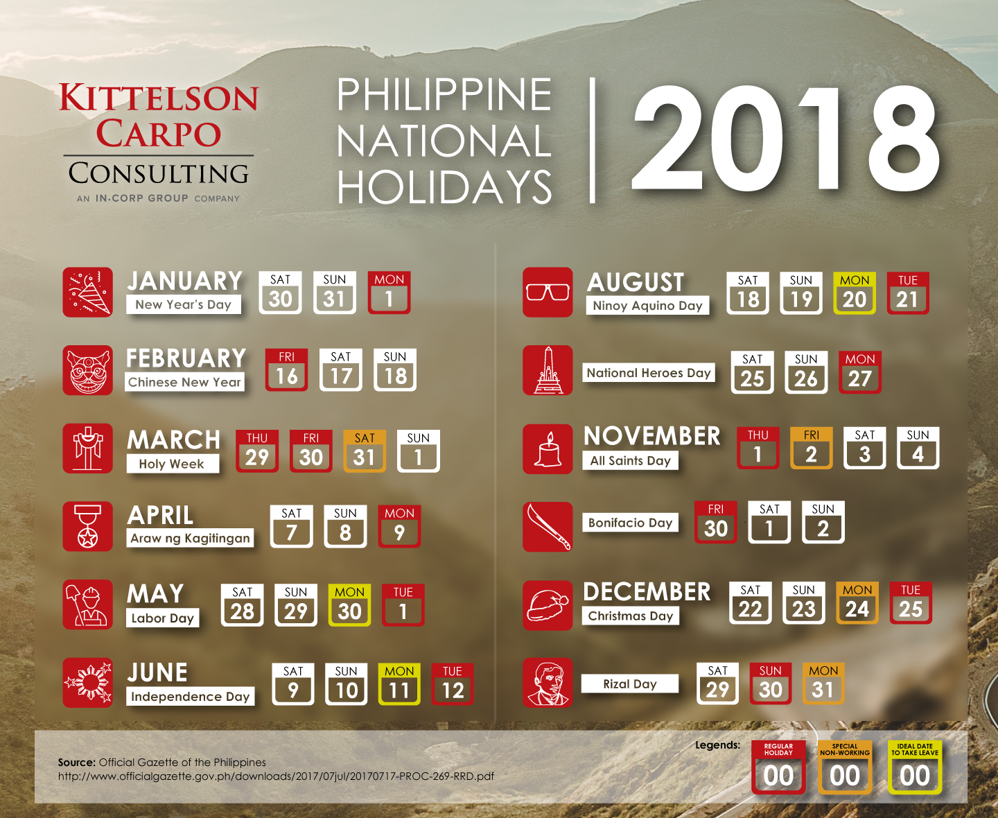 Philippine National Holidays for 2018