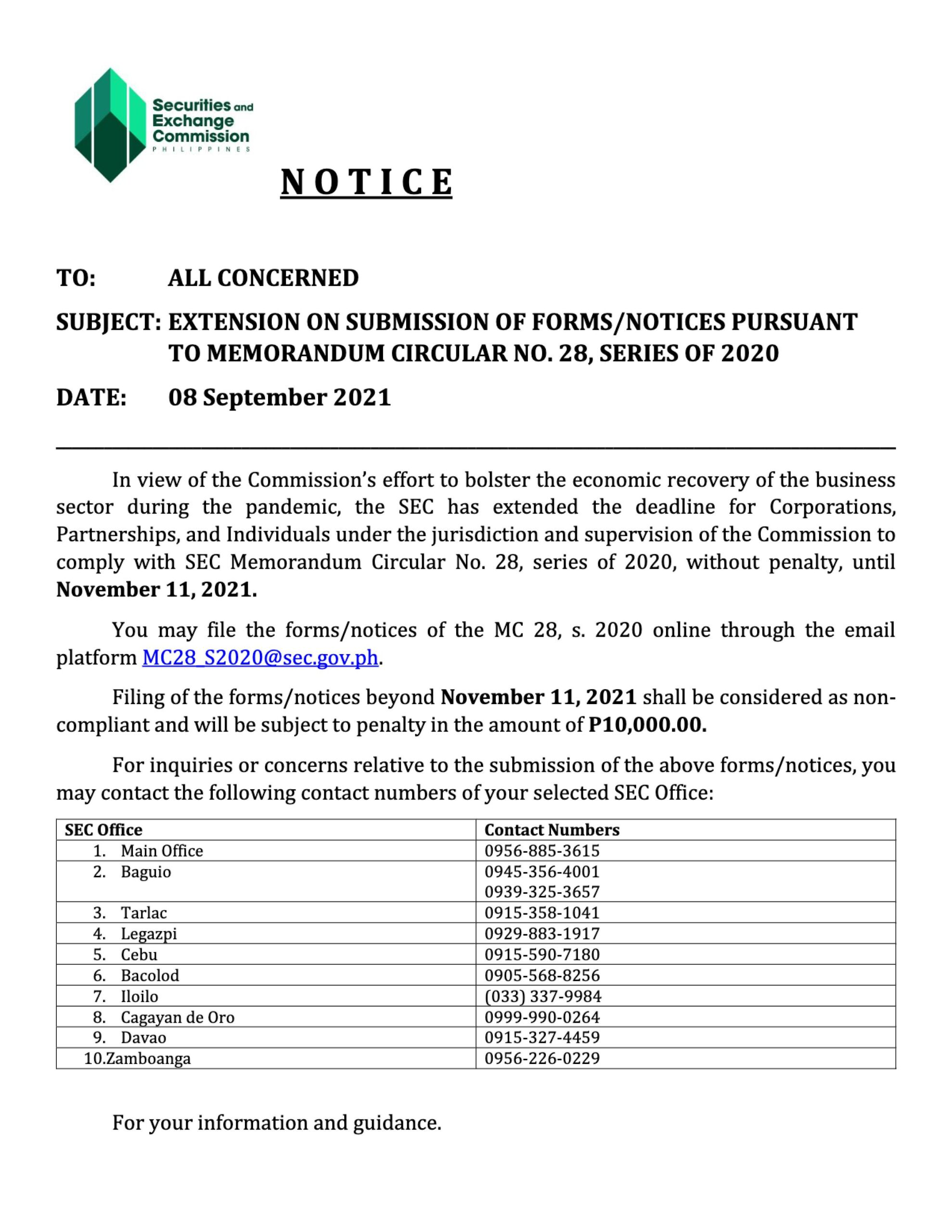 EXTENSION ON SUBMISSION OF FORMS_NOTICES PURSUANT TO MEMORANDUM CIRCULAR NO. 28, SERIES OF 2020 - Securities and Exchange Commission